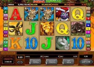 Screenshot of the Mega Moolah slot machine