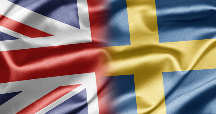 Flag of Great Britain and Sweden whose regulators have just signed a MoU