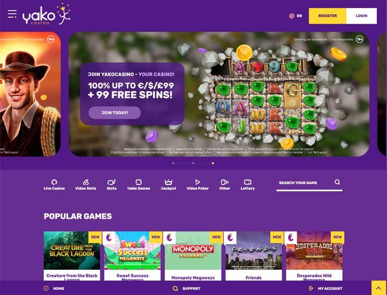 Yako Home page screenshot