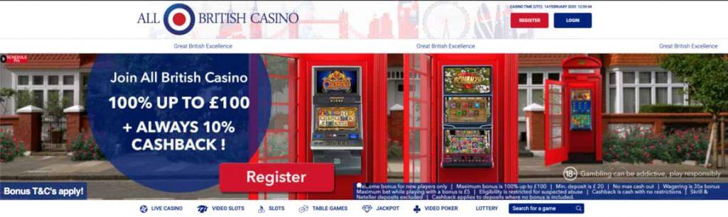 All British Casino Welcome Bonus Screenshot