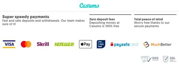 Casumo Payment Methods
