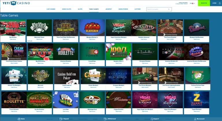 Yeti Casino Table Games