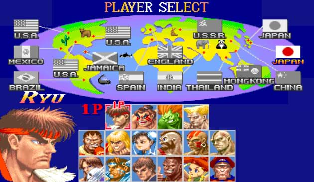 Street Fighter II videogame character selection screen