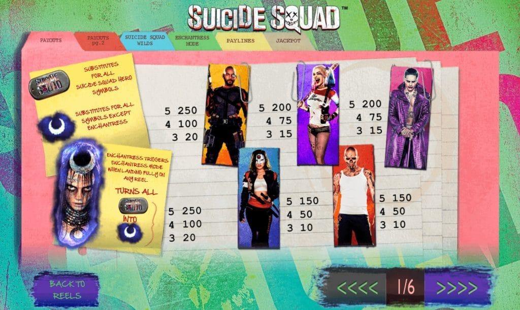 Suicide Squad slot symbols