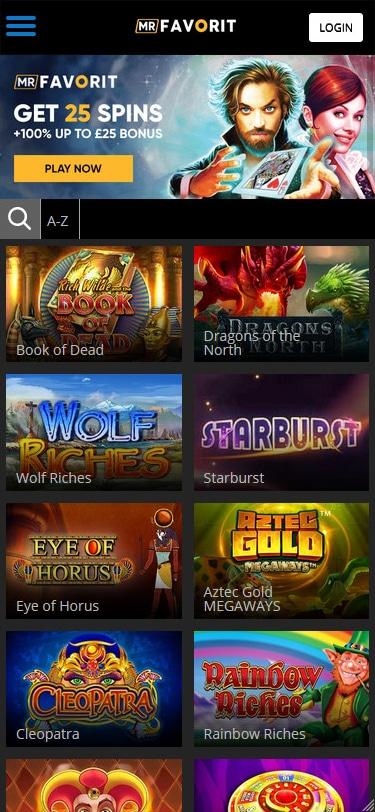 MrFavorit casino home page