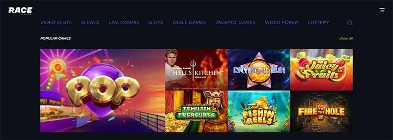 Race Casino popular games